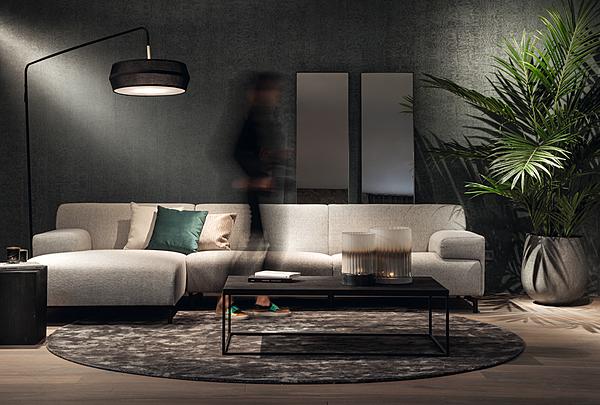 Divano Dome Deco LUGANO L-divano con tessuto BREMA / LUG330 - 160 / BR60