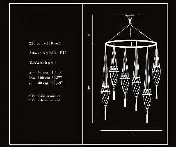 Lampadario ARCHEO VENICE DESIGN 101/6C